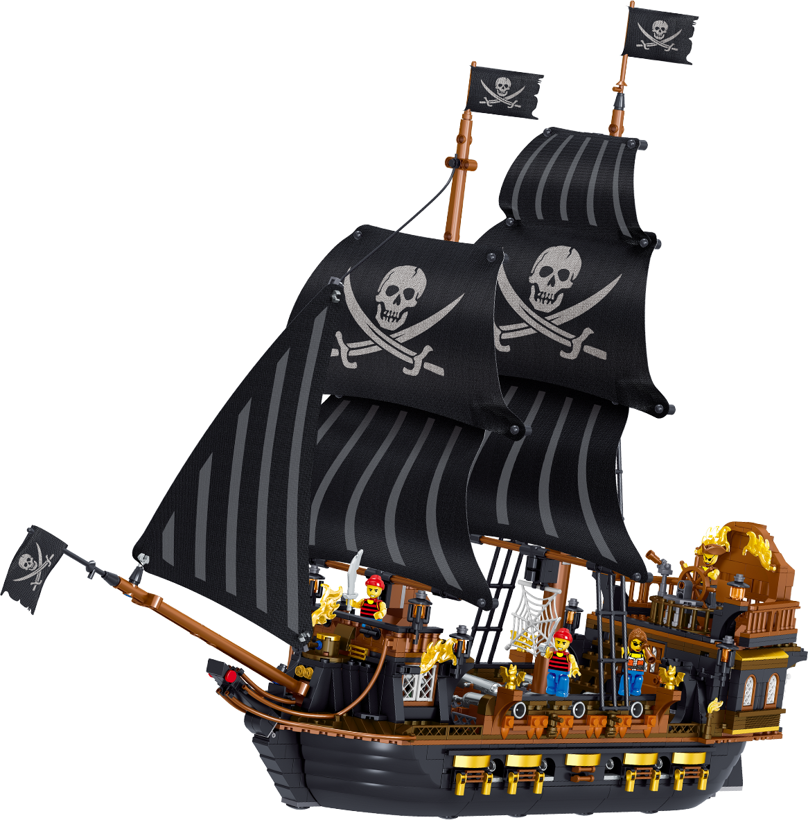 Black Hawk Pirate Toys Children's Play Gift Toys Set Building Blocks Toys Compatible with Legoing