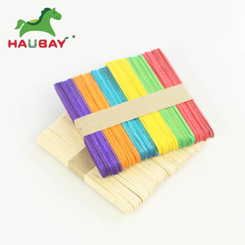 color a granel Pop palo de helado de impresión grabado Pakeing de Ronda niños de madera Diy palos de helado artesanal