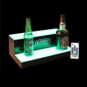 Multi Colored 2 Tiers Bar Liquor Holder Display Glorifier Acrylic Wine Bottle Stand