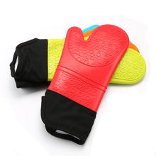 Extra Long Quilted Liner Professional Silicone Oven Mitts
