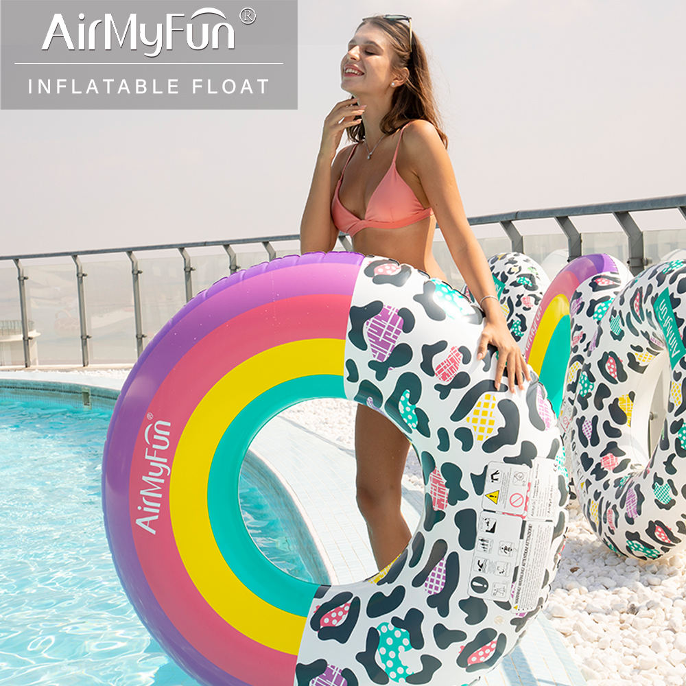 Airmyfun Leopard Rainbow Inflatable Swimming Pool Float Ring For Adult