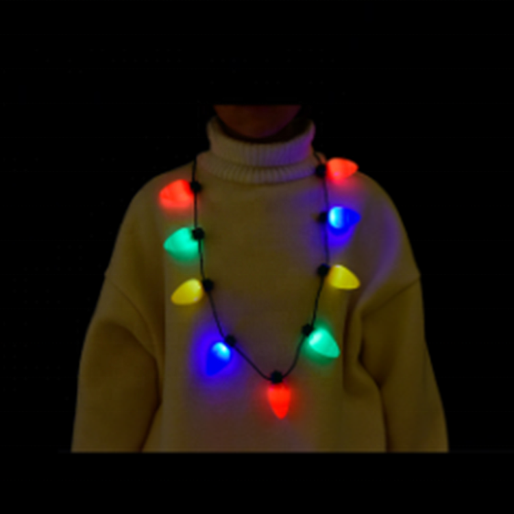 Red Yellow Blue Green Flashing Christmas Bulbs Necklace LED Flashing 9 Lights Bulb Necklace