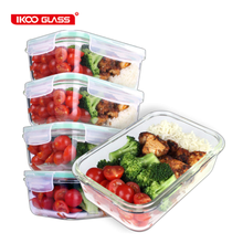 [5-Pack] Glass Meal Prep Containers Food Prep Containers with snap locking Lids Food Storage Airtight Lunch Container