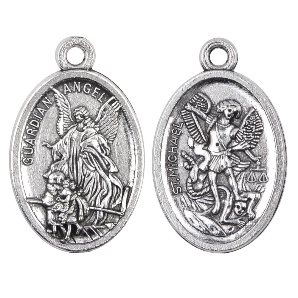 Religious Metal Alloy One Hole Pendant Guardian Angel and St Michael Medal for Chaplet