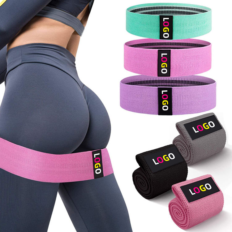 Low MOQ New Design Custom Logo Exercise Band Hip Circle,Printed Fabric Booty Band Gym Fitness Glute Resistance Bands