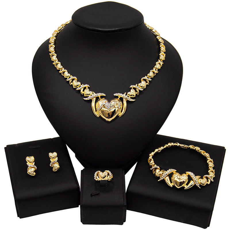 Hot Sale 18K Gold Plated Big Teddy Bear I Love You Jewelry Set American Diamond XOXO Europe Fashion Costume Jewelry Set X0005