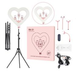 OEM branding 20 inch LED Ring Light heart shape Dimmable Lev