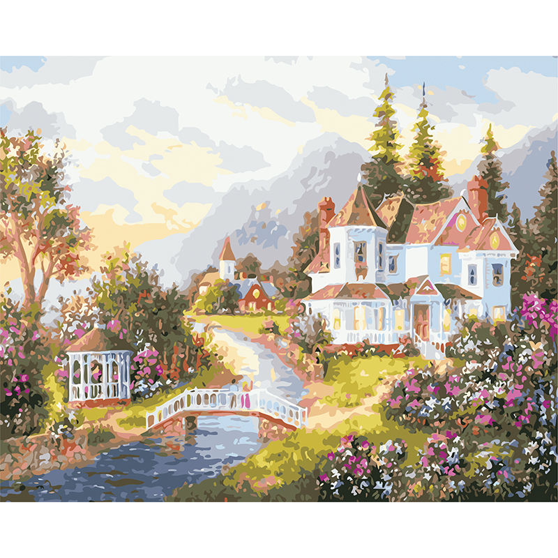 DIY Acrylic Paint by Numbers for Adults Countryside Scenery On Canvas Oil Painting Self-painted Quiet Morning Countryside