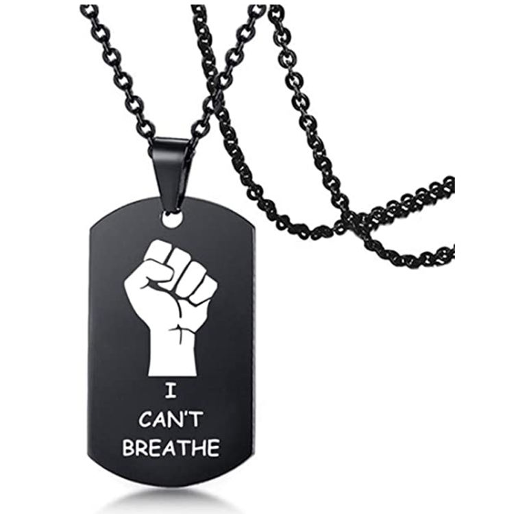 New Fashion I Can't Breathe Pendant Necklace, Black Lives Matter Necklace For Mens Womens Necklace Chain