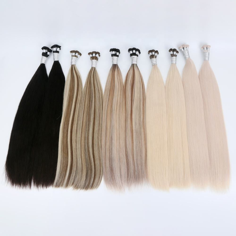super double drawn virgin european human hair extension 8 inch to 24 inch hand tied weft