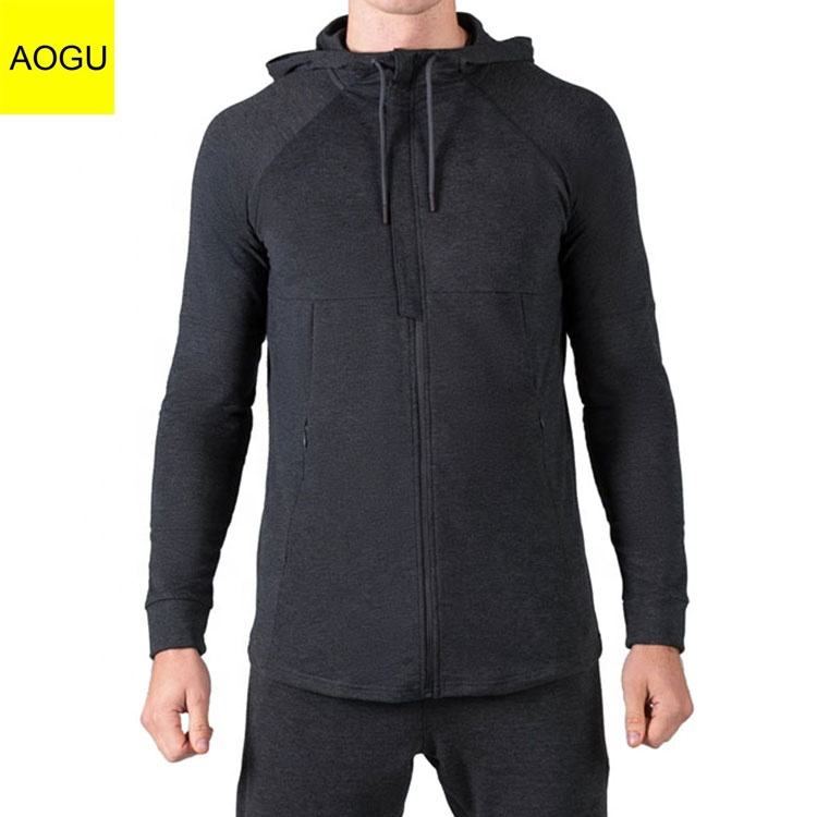 Private Label Custom Zipper Front With Pockets Pullover Slim Mens Athletics Hoodie