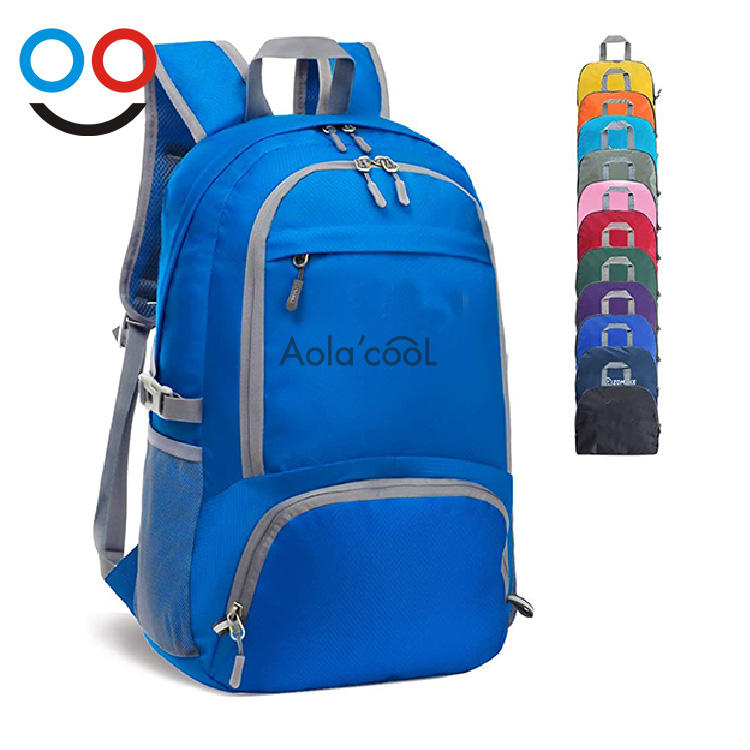 Hot Sale Custom Color 30L Nylon Waterproof Lightweight Portable Foldable Backpack Bag Hiking Camping Outdoor