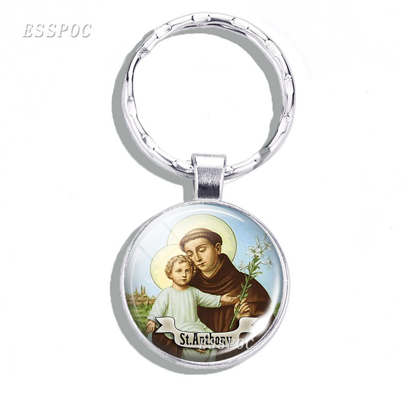 St Anthony Keychain Saint Keyring Bring Love To Your Life Medal Jewelry Gift Religious Cabochon Religious Jewelry Key Chain Ring