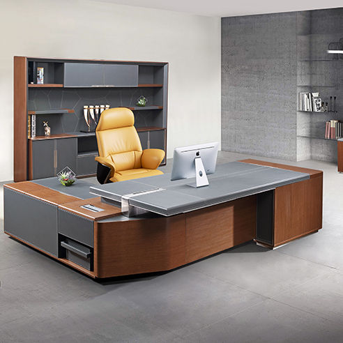 LOPO modern Foshan customized leather L shape executive desk for CEO office furniture