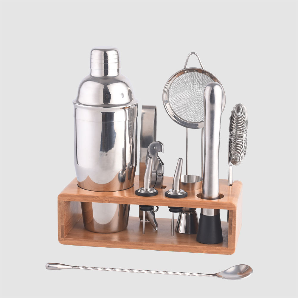 Factory Direct 11 pcs premium stainless steel bartender cocktail shaker set with bamboo stand