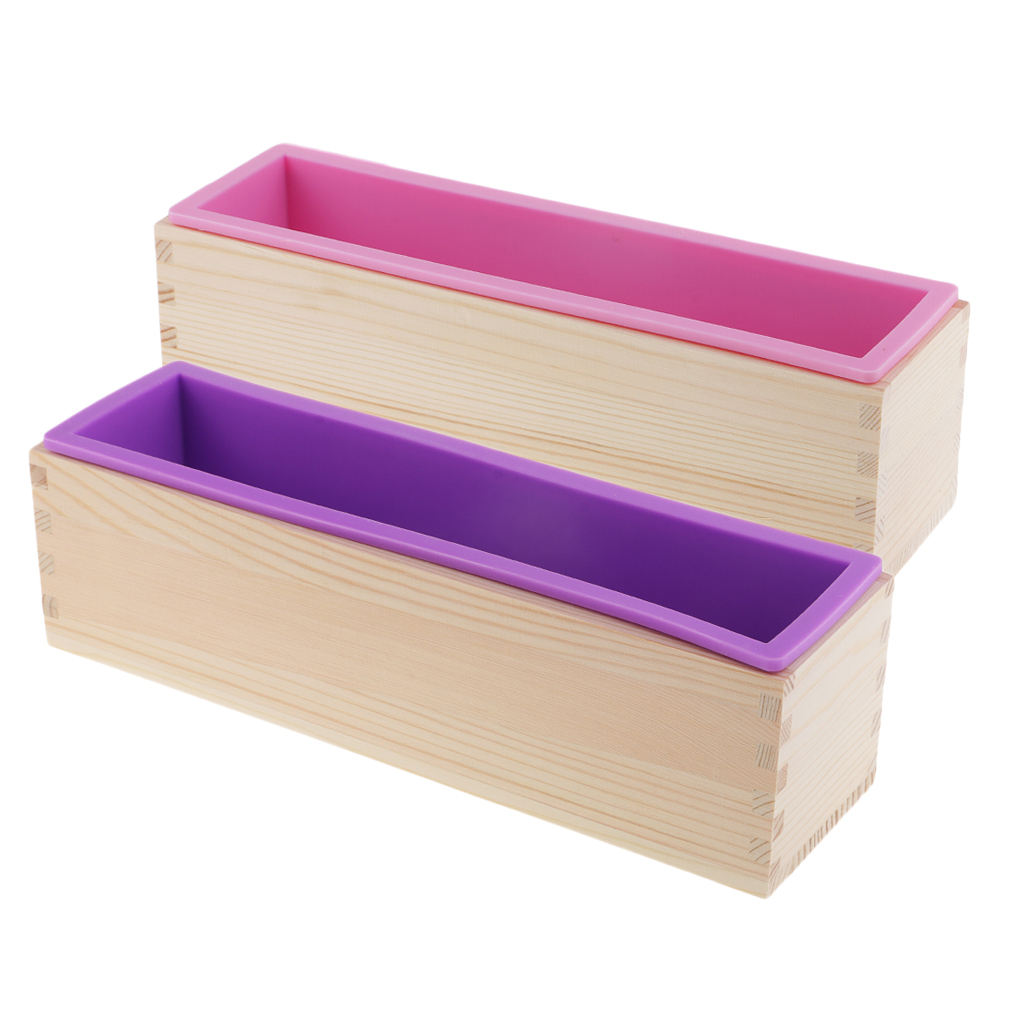 Stocked 1200ミリリットルLoaf Rectangle Silicone Soap MoldとWooden Box Silicone Handmade Soap Mould