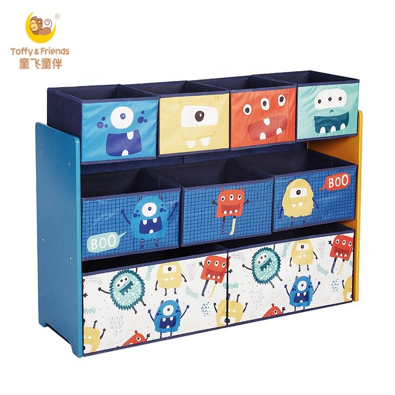 Toffy Friends BSCI Kids Wood Storage Organizer With Fabric Bins In Monster Design
