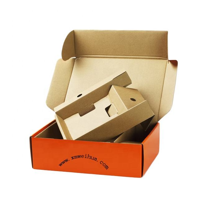Eco friendly packaging custom logo display shipping mailer corrugated boxes with insert for glass bottle package