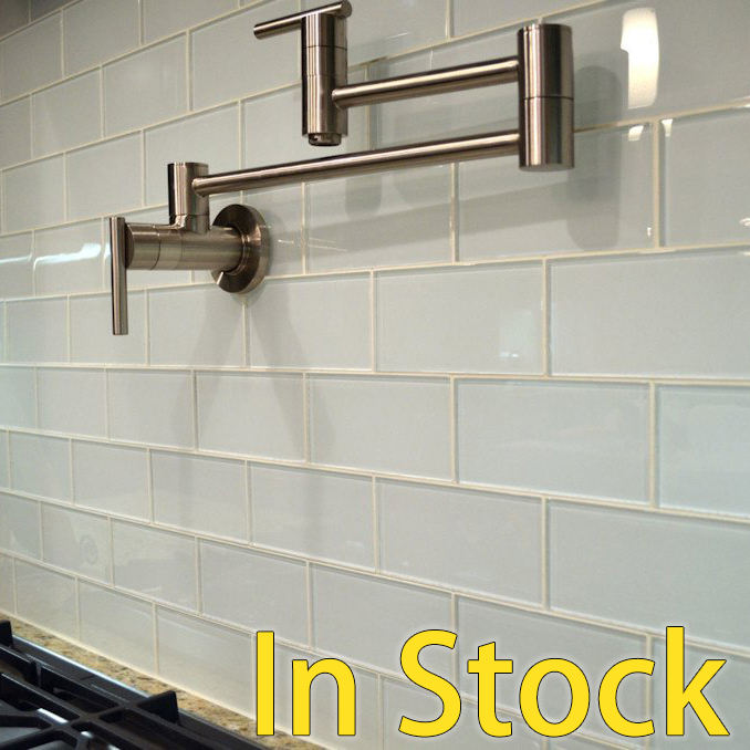 Kitchen backsplash Glossy mosaic white glass subway tile for bathroom wall