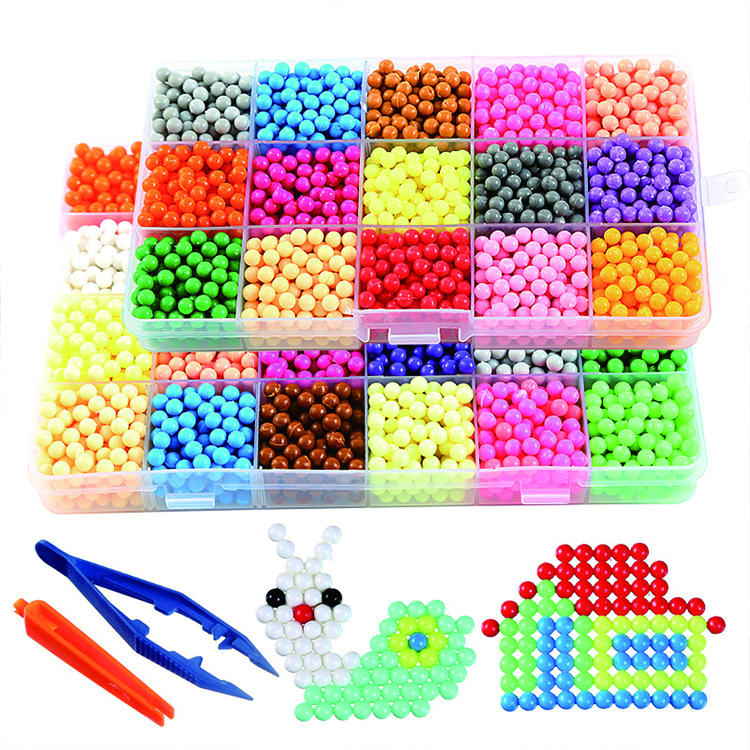 3D 24 Colors Puzzle fresh pearl mist magic beads crafts refill decoration jelly animal water beads