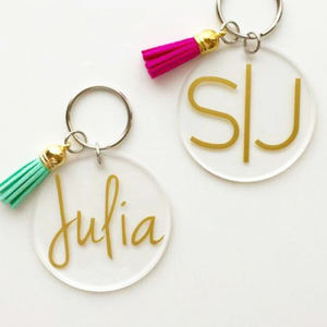 Fashion Clear Monogram Acrylic Disc Tassel custom keychain