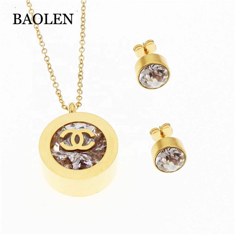 Gold Round Shaped Jewelry Set Fashion Stainless Steel Jewelry 2019 New Design Charm Jewelry Set Wholesale