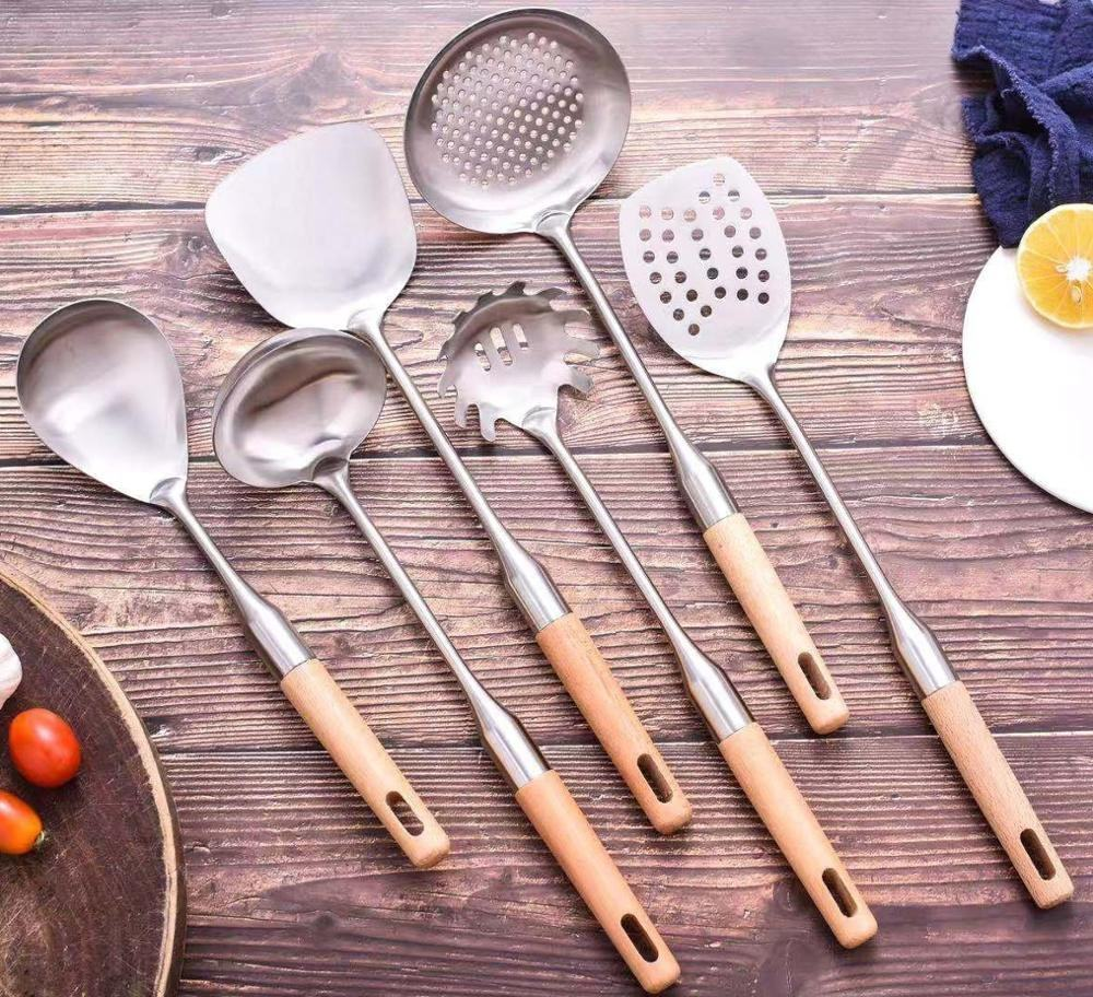 304 Stainless Steel Utensil (spatula,colander ladle,frying spade,soup scoop,spaghetti server,loog spoon) Kitchen Set