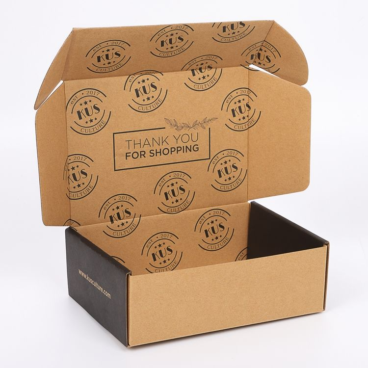 Guangdong custom reverse print brown tuck up paper cardboard garment packing shipping postal mail box