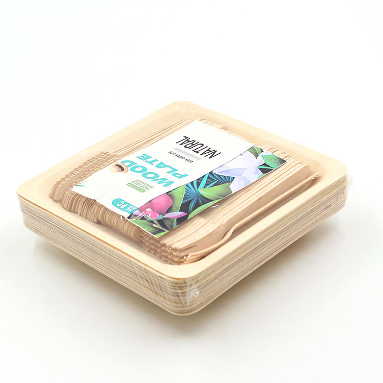 50pcs set wooden cutlery packed with 7inch wooden square plate