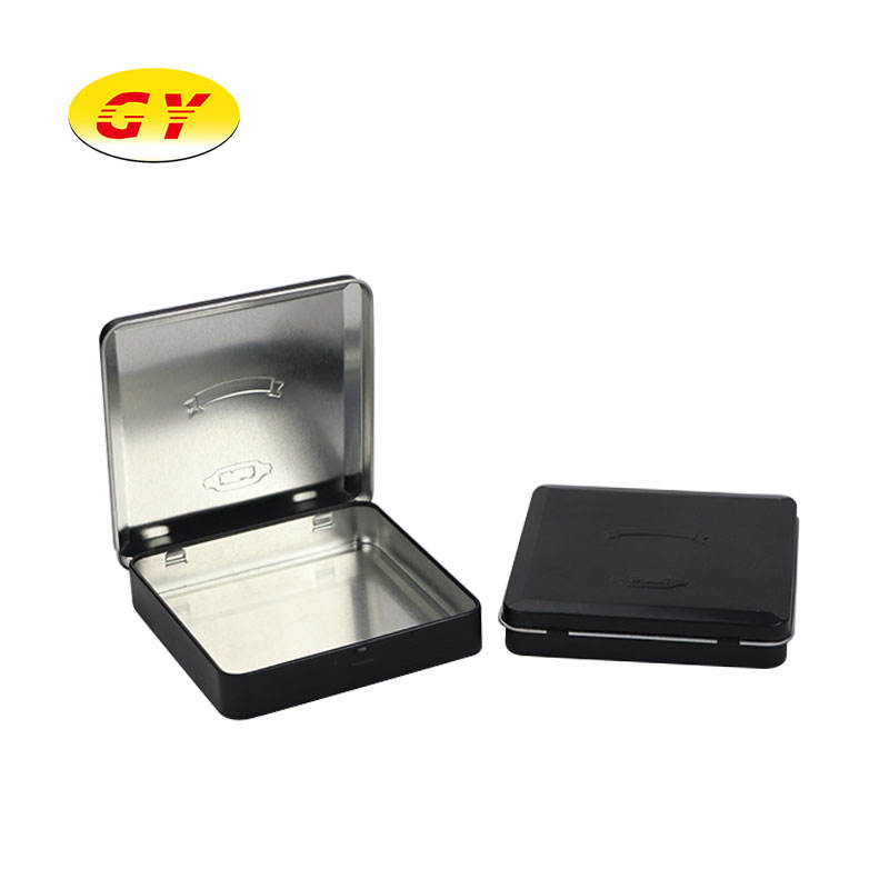 Small square matte black cigarette SIM cards jewelry tin packaging with hinged lid