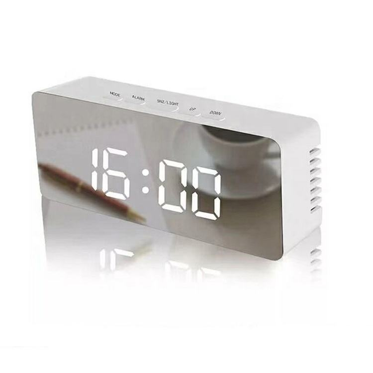 Mirror digits desk clock Electronic Digital LED light big display creative Alarm Clock promotional women lady gift make up clock