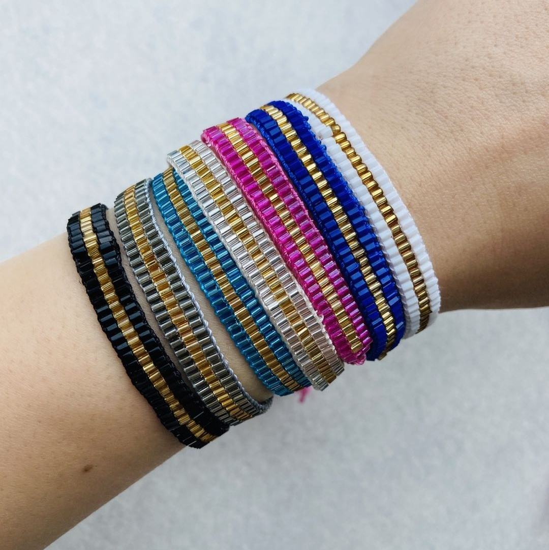 Moyamiya handmade wrist band shinny seed beaded 20 plus colors available bracelet accessories