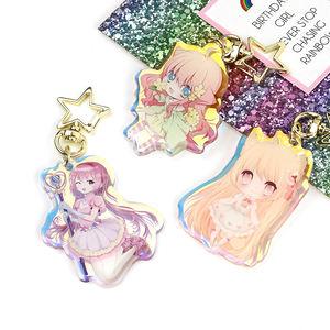 VOGRACE custom OEM cartoon anime cute acrylic rainbow keychain printed transparent clear epoxy colorful keychains no MOQ