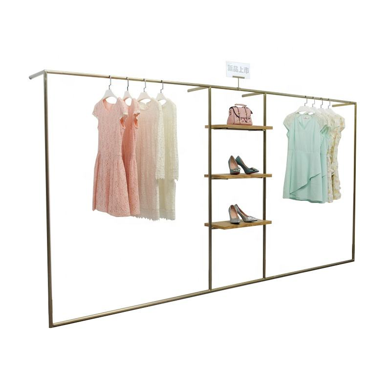 Clothing store men's and women's stainless steel wire drawing wall rack display rack floor type middle island rack clothes hange
