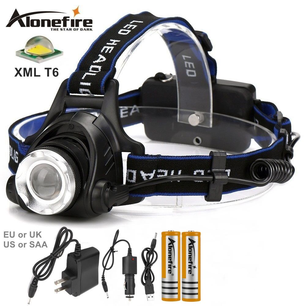 AloneFire HP79 XM-L T6 led High power Zoom Headlamp Head light Outdoor Camping Fishing Headlight lamp 18650 Rechargeable battery