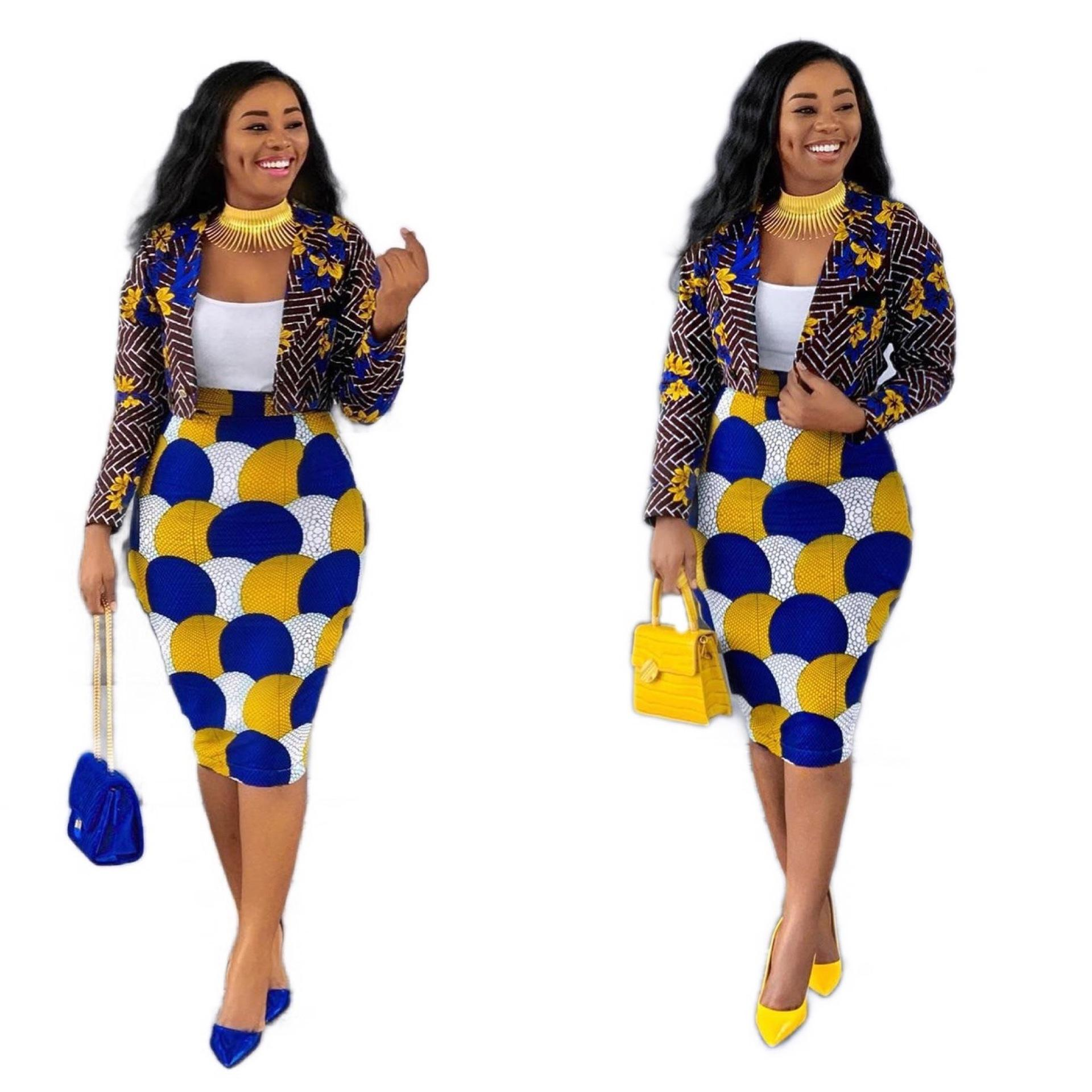Africa style bright colors women printing office suits casual blazer and skirts