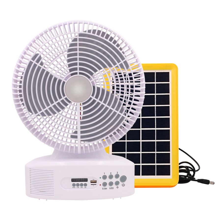 Solar power saving 12 inch cooling fashion 90 degree rotating 3 blade 3 speed switch mini portable small stand cooling fan