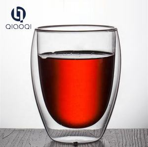 OEM wholesale high quality 80ml 150ml 450ml tall borosilicate double wall layer glass cup for tea