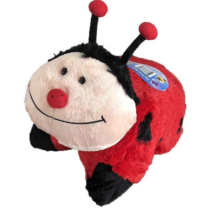 Red Ladybug full stuffed soft sleeping buddy insect pillow 2in1 cushion
