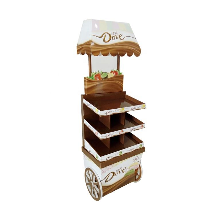 Custom Retail Cardboard Chocolate Display Stand, Paper Cardboard Display Rack For Candy, Candy Food Cardboard Display