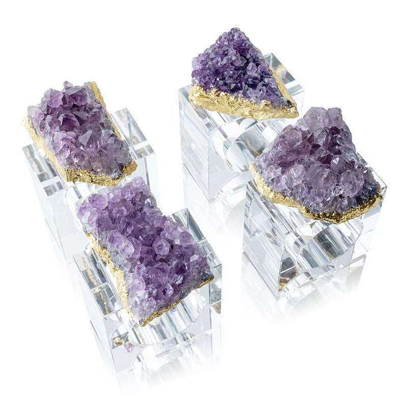Wholesale crystal amethyst agate geode TABLE NAPKIN RING