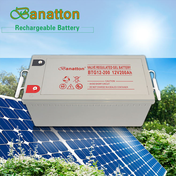 Banatton Modern Solar Gel Battery 12V 200Ah Gel Cell Battery Accu Pil Bateria Solares Lead Acid Rechargeable Storage Batteries