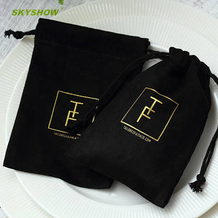 Large Small Drawstring Custom Packing Jewellery Gift Velvet Bag Dust Pouch With Logo Printing