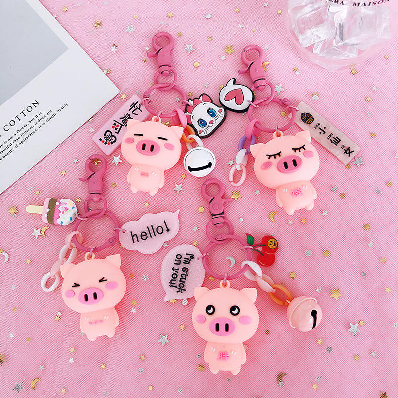 Creative cute pink pig key ring pendant car keychain bag pendant