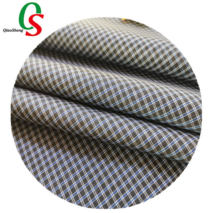 Checked print polyester fabric strong stretch fabric textile for outdoor
