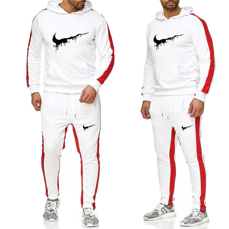 Gedrukt Mannen Herfst Winter Kleding Lange Mouw Tweedelige Set Mode Casual Sportswear Mannen Jogging Trainingspak Set
