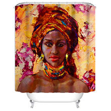 Wholesale 3d Print Polyester Shower Curtain Black Art African American Black Girl Afro Women Bath Curtain For Bthroom