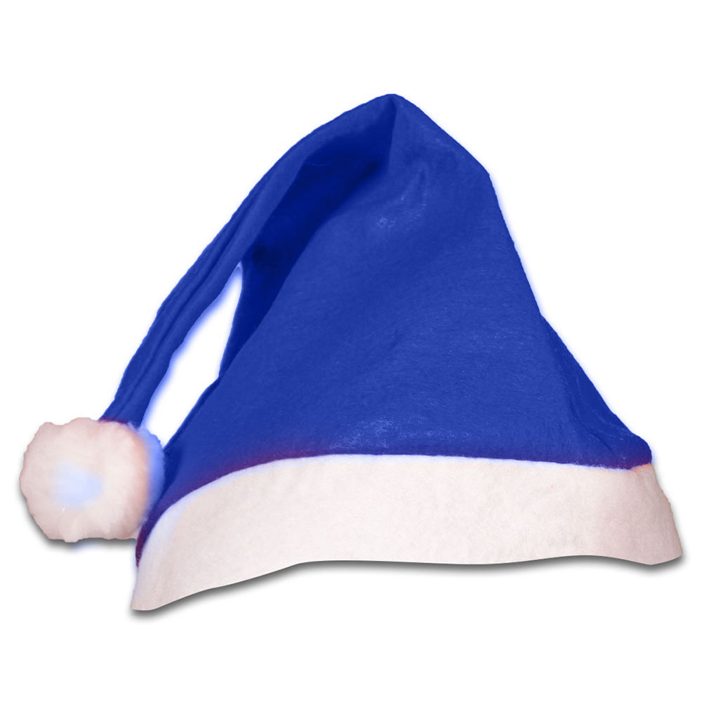 Custom Blue Christmas Santa Hat wih Light Up Pom Pom