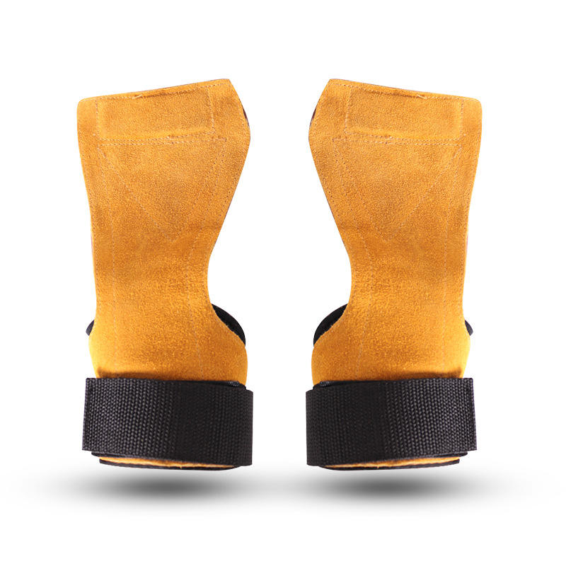 Cowhide leather Gym Mittens Grips Anti-Skid Weight Lifting Grip Pads Workout Fitness Mittens Palm Protection