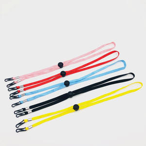 China factory elastic material adjustable neck strap lanyard with double clasps